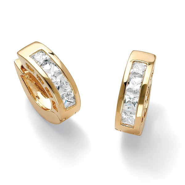 PalmBeach 2.96 TCW Princess-Cut Cubic Zirconia Huggie-Hoop Earrings 14k Gold-Plated Classic CZ