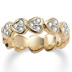 PalmBeach Round Crystal 14k Yellow Gold-Plated Band of Hearts Ring Bold Fashion