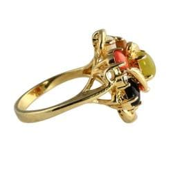 PalmBeach 14k Gold-plated Oval-shaped Multi-gemstone Ring Naturalist