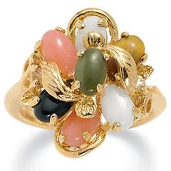 Angelina D'Andrea 14k Gold-plated Oval-shaped Multi-gemstone Ring