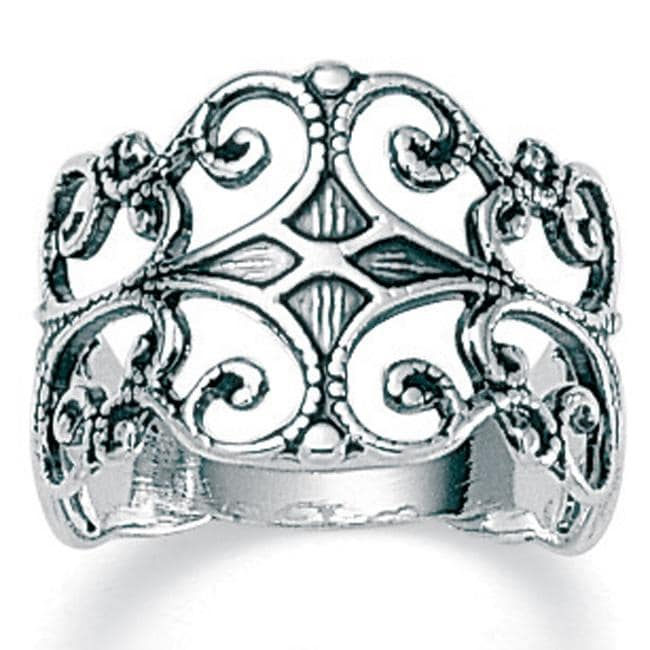 PalmBeach Sterling Silver Antique-Finish Filigree Band Ring Tailored