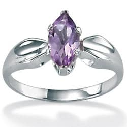 PalmBeach Sterling Silver Marquise Amethyst Ring