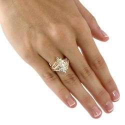 Ultimate CZ 18K Gold over Sterling Silver White Cubic Zirconia Ring