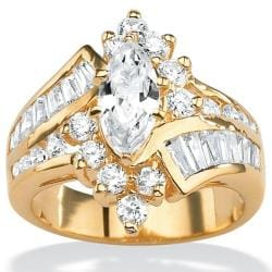PalmBeach CZ 18K Gold over Sterling Silver White Cubic Zirconia Ring Glam CZ