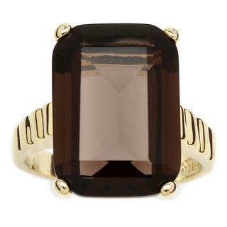 Angelina D'Andrea 14k Gold-plated Smoky Quartz Ring