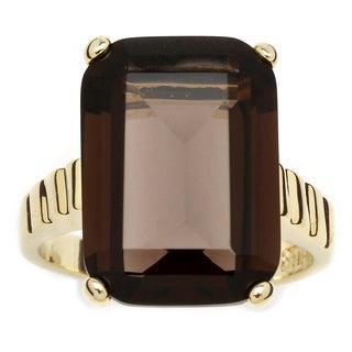 PalmBeach 14k Gold-plated Smoky Quartz Ring