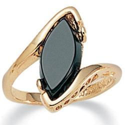Angelina D'Andrea 14k Yellow Gold-Plated Marquise Onyx Costume Ring