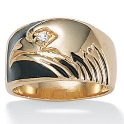 Neno Buscotti 14k Yellow Gold-Plated Cubic Zirconia Eagle Men's Ring