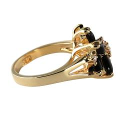 Angelina D'Andrea 14k Goldplated Marquise Onyx and Round Crystal Accent Ring