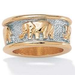 Toscana Collection Two-tone Brass 10.7-millimeter Elephant Design Band