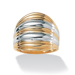Toscana Collection Two-tone Ribbed Dome 18k Gold over Sterling Silver Ring