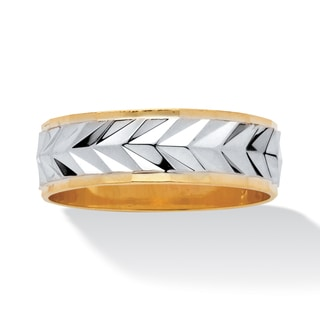 PalmBeach Men's Two-Tone Textured Wedding Band 14k Gold-Plated
