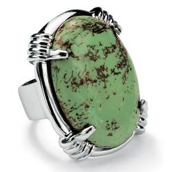 PalmBeach Oval Shape Green Genuine Turquoise Silvertone Cocktail Ring Naturalist