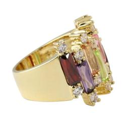 Lillith Star 14k Goldplated Multi-Colored Cubic Zirconia Ring