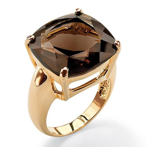 PalmBeach 28 TCW Cushion Princess-Cut Genuine Smoky Quartz 14k Yellow Gold-Plated Multi-Faceted Ring