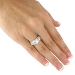Ultimate CZ Platinum over Silver Round and Princess Cubic Zirconia Ring