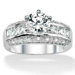 PalmBeach CZ Platinum over Silver Round and Princess Cubic Zirconia Ring Classic CZ