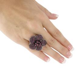 Lillith Star Black Ruthenium Purple Flower Ring