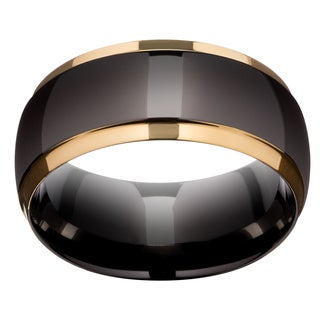 Neno Buscotti Black Ion Plated over Stainless Steel Men&#39;s Goldtone Accent Ring