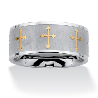 PalmBeach Cross Eternity Two-Tone Band in Stainless Steel and Gold Tone Sizes 7-16