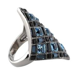 Lillith Star Black Ruthenium Blue and Black Crystal Ring