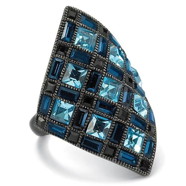 PalmBeach Princess-Cut Blue and Black Crystal Black Rhodium-Plated Diamond-Shaped Cocktail Ring Bold Fashion