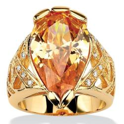 PalmBeach 18k Goldplated Champagne and White Cubic Zirconia Ring Color Fun