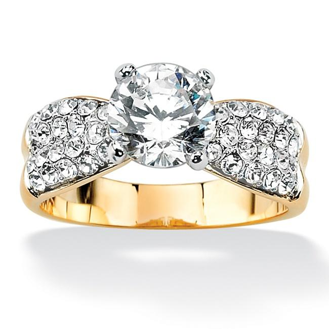 PalmBeach 2.62 TCW Round Cubic Zirconia 14k Yellow Gold-Plated Engagement Anniversary Ring Classic CZ