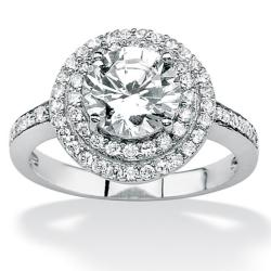 Ultimate CZ Platinum over Silver Clear Round Cubic Zirconia Ring