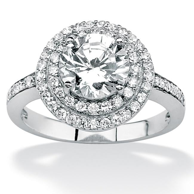 PalmBeach CZ Platinum over Silver Clear Round Cubic Zirconia Ring Glam CZ