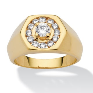 Ultimate CZ 14k Goldplated Cubic Zirconia Hexagon Ring