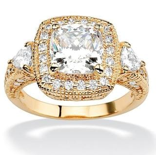 Ultimate CZ 18k Gold-over-silver Cushion-cut Cubic Zirconia Ring