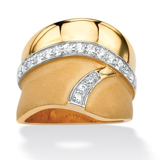 Ultimate CZ 18k Gold over Silver Cubic Zirconia Polished and Brushed Ring