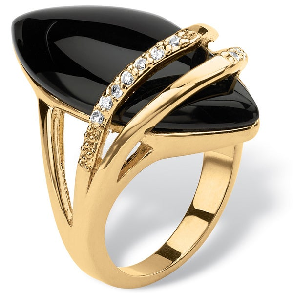 PalmBeach Marquise-Shaped Genuine Onyx with Cubic Zirconia Accents 18k Gold-Plated Ring Naturalist
