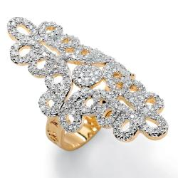 Ultimate CZ Two-Tone 14k Gold-plated Cubic Zirconia Swirl Ring