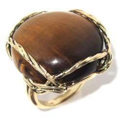 Angelina D'Andrea 14k Goldplated Tiger's Eye Ring