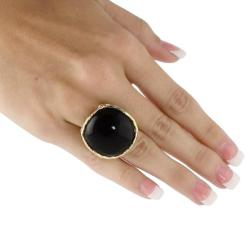 Angelina D'Andrea 14k Goldplated Onyx Cabochon Ring
