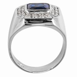 PalmBeach CZ Silvertone Blue Glass and Cubic Zirconia Ring Men's