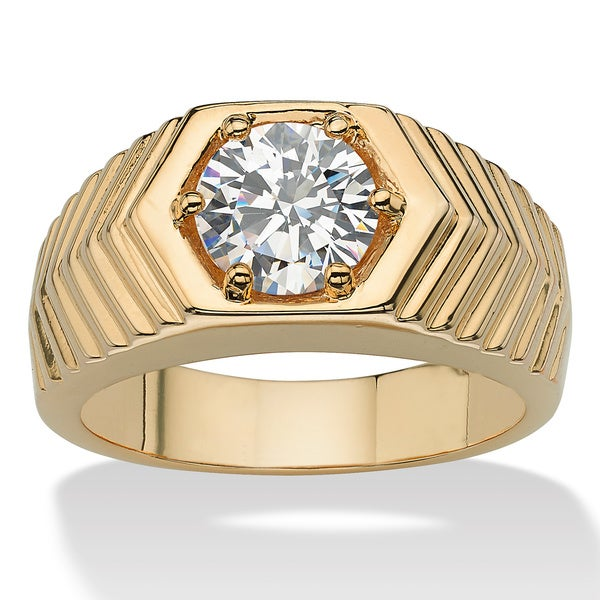 PalmBeach Men's 2.00 TCW Round Cubic Zirconia 14k Yellow Gold-Plated Chevron Ring