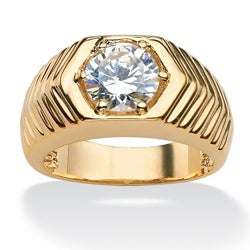 Ultimate CZ 14k Goldplated Round-cut Cubic Zirconia Chevron Ring