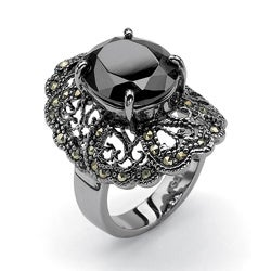PalmBeach Black Ruthenium Black Cubic Zirconia and Marcasite Ring Bold Fashion