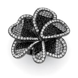 Lillith Star Black Ruthenium Crystal Flower Ring