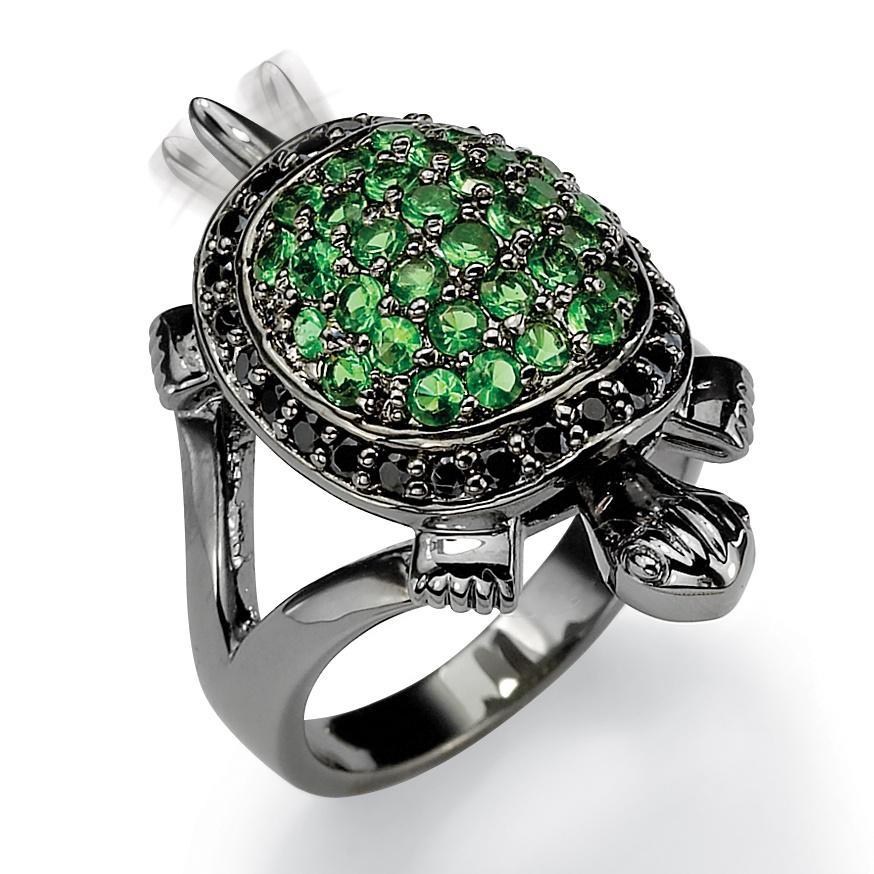 PalmBeach Black Ruthenium Cubic Zirconia and Glass Turtle Ring Glam CZ