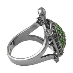 Lillith Star Black Ruthenium Cubic Zirconia and Glass Turtle Ring
