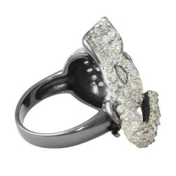 Lillith Star Black Ruthenium Ruby and Cubic Zirconia Elephant Ring