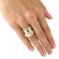 PalmBeach Tutone. 18k Gold-Plated Hammered-Style Concave Dome Ring Tailored