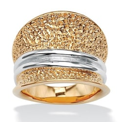 PalmBeach Two-Tone 18k Goldplated Concave Ring Tailored