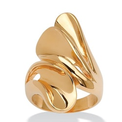 Toscana Collection 18-karat High-polish Gold-plated Bypass Fan Ring