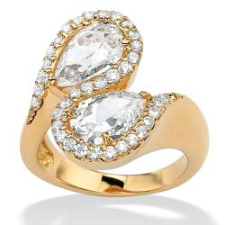 Ultimate CZ 18k Goldplated Pear and Round Cubic Zirconia Bypass Ring