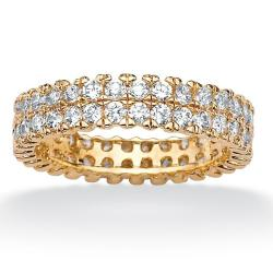 Ultimate CZ Gold over Silver Clear Cubic Zirconia Eternity Ring